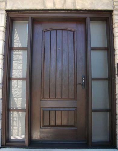 Windows and Doors Toronto-Rustic Doors-Fiberglass Rustic Doors-Rustic Doors Single Solid Fiberglass Woodgrain Door With and 2 side Lites Installed by Windows and Doors Toronto in Richmond hill