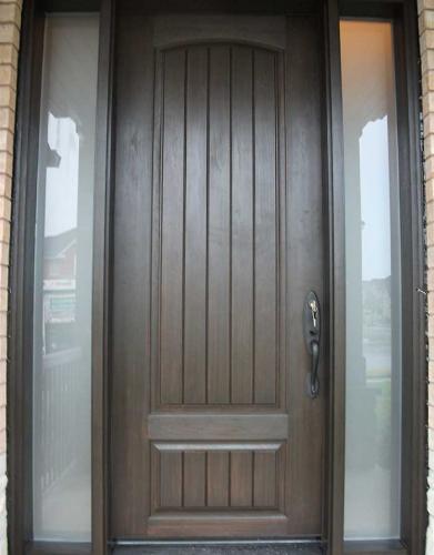 Windows and Doors Toronto-Rustic Doors-Fiberglass Rustic Doors-Rustic Doors With 2 Frosted Side Lites Installed by Windows and Doors Toronto in Thornhill