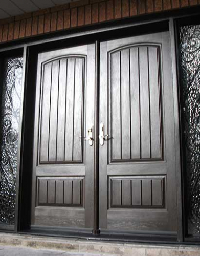 Windows and Doors Toronto-Rustic Doors-Fiberglass Rustic Doors-Rustic Doors Woodgrain Double Solid Front Door with 2 Iron Art Side Lits Installed by Windows and Doors Toronto in Thornhill Ontario