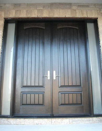 Rustic Doors-Fiberglass Rustic Doors-Rustic Doors Woodgrain Solid Doors With and 2 Frosted Side Lites installed by Windows and Doors Toronto in Richmond hill