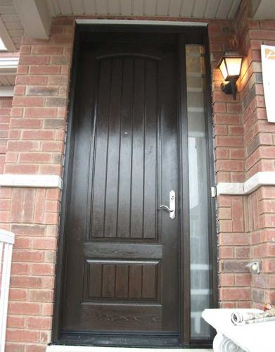 Rustic Doors-Fiberglass Rustic Doors-Woodgrian Solid Single Front Door with Frosted side Lite Installed by Windows and Doors Toronto in Hamilton Ontario