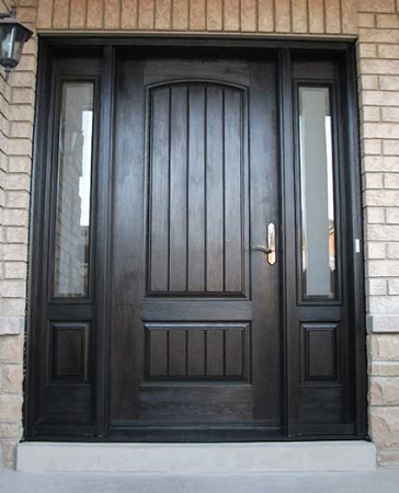Windows and Doors Toronto-Rustic Doors-Fiberglass Rustic Doors-Rustic Doors woodgrain Solid Door with 2 Side lits Installed by Windows and Doors Toronto in Vaughan