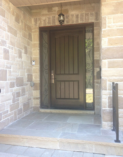 Rustic Fiberglass 2 Panel Door with 2 frosted Side Lites installed in Etobicoke