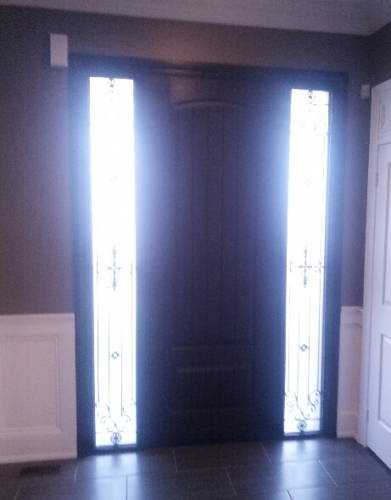 Windows and Doors Toronto-Rustic Doors-Fiberglass Rustic Doors-Rustic Fiberglass Door with 2 Wrought Iron Side Lites installed by windowsanddoors.ca in Richmond Hill
