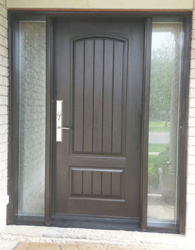 Rustic Fiberglass Exterior Door with 2 Frosted Side Lites installed in Toronto