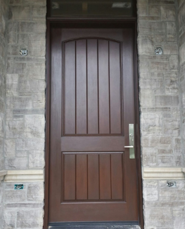 Rustic Mahogany Fiberglass Front Ddoor with Transom installed in Oakville