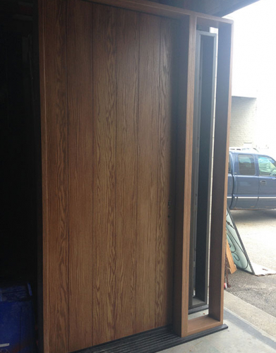 Rustic Woodgrain 8 Foot Door with Side Lite