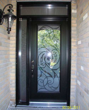 Windows and Doors Toronto-Smooth Fiberglass Doors-Smooth Door with Slim Side Lite and Transom installed by Windows and Doors Toronto in Scarborough
