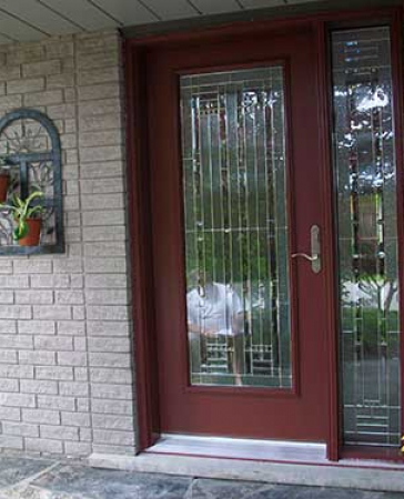 Windows and Doors Toronto-Smooth Fiberglass Doors-Smooth Door with side Lite-Stained Glass Design installed by Windows and Doors Toronto