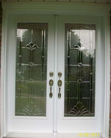 Windows and Doors Toronto-Smooth Fiberglass Doors-Smooth Doors- Entrance Stained Glass Design Double Doors with Multi point Locks Installed by Windows and Doors Toronto