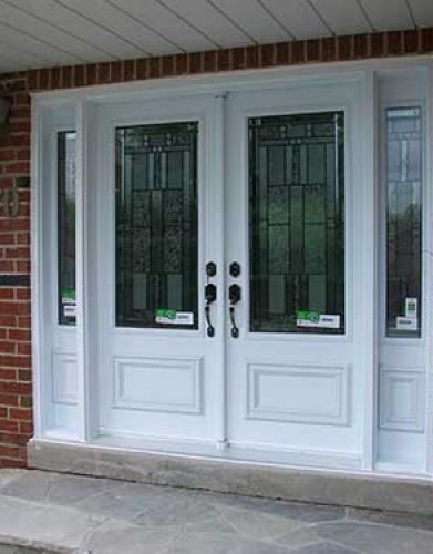 Windows and Doors Toronto-Smooth Fiberglass Doors-Smooth Doors-Stained Glass Design installed by Windows and Doors Toronto