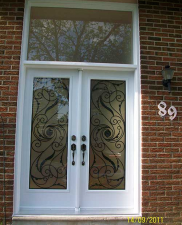 Windows and Doors Toronto-Smooth Fiberglass Doors-Smooth Doors-Smooth Exterior Double Doors with Multi Point Locks & Transom installed by Windows and Doors Toronto