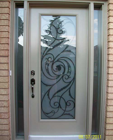 Windows and Doors Toronto-Smooth Fiberglass Doors-Smooth Doors-Smooth Single Door, Wrought Iron with Multi Point Locks installation  by Windows and Doors Toronto