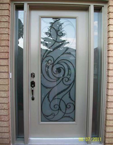 Windows and Doors Toronto-Smooth Fiberglass Doors-Smooth Doors-Smooth Single Door, Wrought Iron with Multi Point Locks installation  by Windows and Doors Toronto