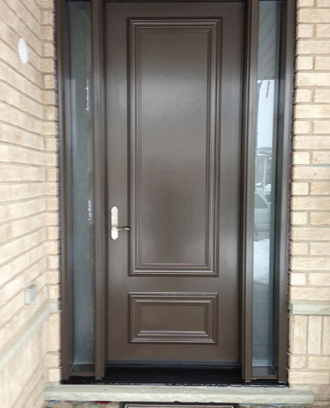 Windows and Doors Toronto-Smooth Fiberglass Doors-Smooth fiberglass door with 2 frosted side lite installed in Aurora by windowsanddoorstoronto.ca