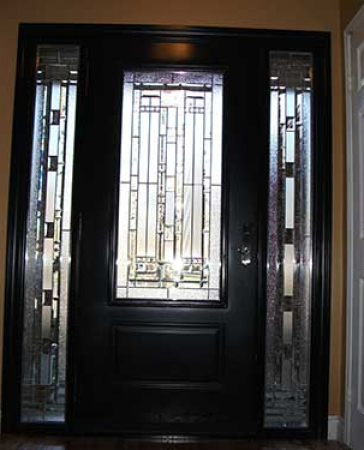 Windows and Doors Toronto-Fiberglass Doors-Stained Glass Front Doors-Stained Glass Door with 2 Side Lites installed in Kingston Ontario – Inside View by  Windows And Doors Toronto