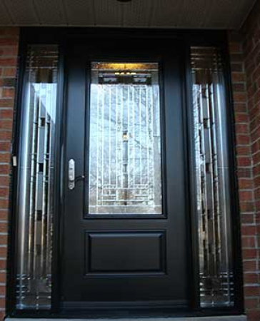 Windows and Doors Toronto-Fiberglass Doors-Stained Glass Front Doors-Stained Glass Door with 2 Side Lites installed in Kingston  Ontario by  Windows And Doors Toronto