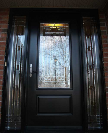 Windows and Doors Toronto-Fiberglass Doors-Stained Glass Front Doors-Stained Glass Door with 2 Side Lites installed in Kingston by  Windows And Doors Toronto
