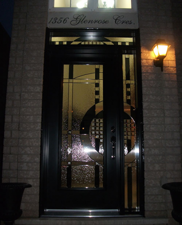Windows and Doors Toronto-Fiberglass Doors-Stained Glass Front Doors-Stained Glass Door with Side Lite and Transom Installed  by  Windows And Doors Toronto