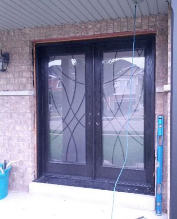 Windows and Doors Toronto-Fiberglass Doors-Stained Glass Front Doors-Stained Glass Doors with multi point locks, installed in Brampton by  Windows And Doors Toronto