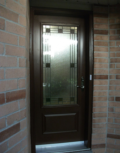 Windows and Doors Toronto-Fiberglass Doors-Stained Glass Front Doors-Stained Glass Single Door Installed by  Windows And Doors Toronto