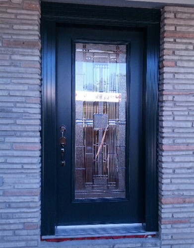 Windows and Doors Toronto-Fiberglass Doors-Stained Glass Front Doors-Stained Glass Smooth Fiberglass Single Door Installed by  Windows And Doors Toronto