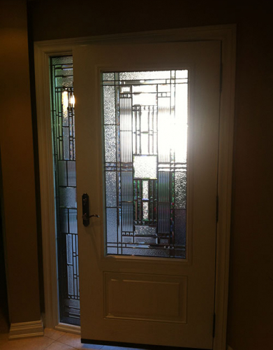 Windows and Doors Toronto-Fiberglass Doors-Stained Glass Front Doors-Stained Glass Woodgrain Fiberglass Single Door with Side Lite, Inside View installed by  Windows And Doors Toronto