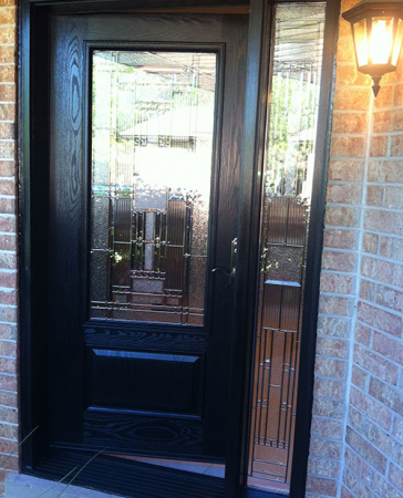 Windows and Doors Toronto-Fiberglass Doors-Stained Glass Front Doors-Stained Glass Woodgrain Fiberglass Single Door with Side Lite installed by  Windows And Doors Toronto