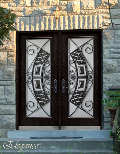 Stainless Steel Elegance Design and Wrought Iron Fiberglass Doors with Stained Glass