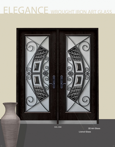 Stainless Steel Elegance Design with Wrought Iron Design and Stained Glass Fiberglass Doors