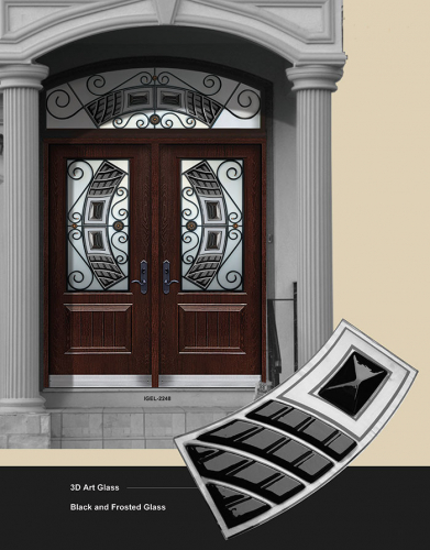 Stainless Steel and 3D Art Glass and Arched Transom Fiberglass Doors