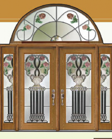 Windows and Doors Toronto-Fiberglass Doors-Stained Glass Front Doors-Venice Roses Stained Glass  Fiberglass Doors by  Windows And Doors Toronto