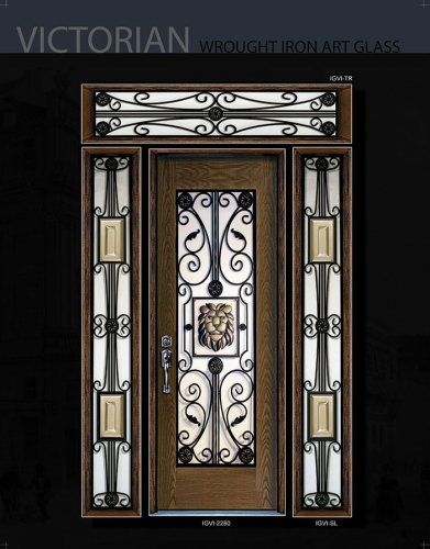 Victorian Wrought Iron Desgn and Stained Glass Fiberglass Door with 2 Side Lite and Transom