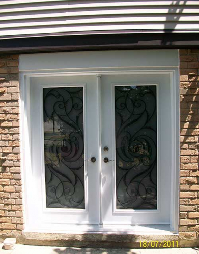 Windows and Doors Toronto-Smooth Fiberglass Doors-Smooth Doors-White Jullietta Smooth Doors with Multi Points locks installed by  Windows and Doors Toronto