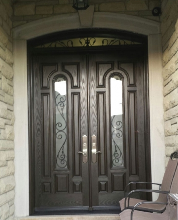 Windows and Doors Toronto-Fiberglass Woodgrain 8 Panel Doors with 2 door lites and Arch Transom