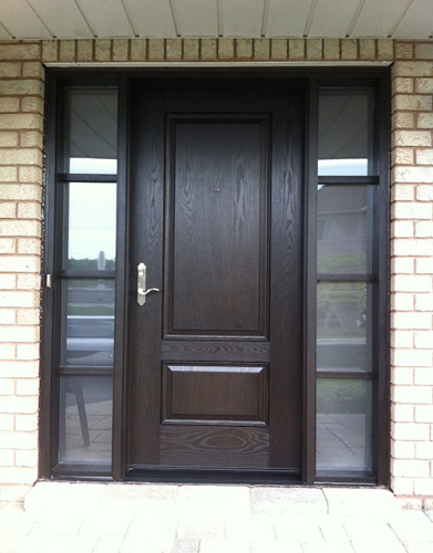 Woodgrain Exterior Doors-Woodgrain doors-Front Entry Doors-Wood Grain Solid Door with Frosted Glass Side Lites Installed by Windows and Doors Toronto