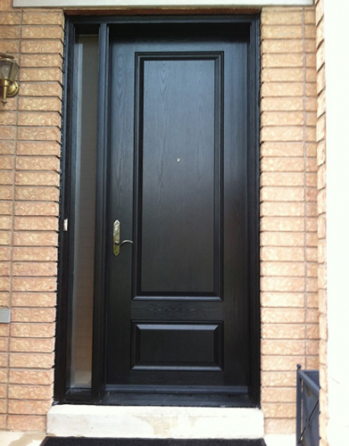 Woodgrain Exterior Doors-Woodgrain Exterior Doors-Woodgrain doors-Wood Grain Solid Door with Side Lite Installed by Windows and Doors Toronto