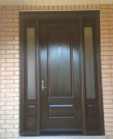 Woodgrain Exterior Doors-Woodgrain doors-Front Entry Doors-Wood grain Fiberglass Single Door with 2 Side Lites installation by Windows and Doors Toronto