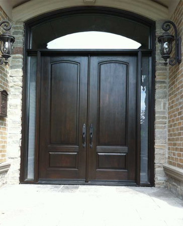 Woodgrain doors-Front Entry Doors-Wood grain Fibergllass Doors with 2 Side lites and Matching Arch Transom Installed by Windows and Doors Toronto in Richmond hill Ontario