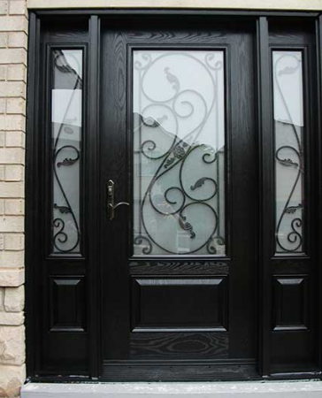 Woodgrain Exterior Doors-Woodgrain doors-Front Entry Doors-Wood grain Glass Design Door with 2 Iron Art Side Lites installed by Windows and Doors Toronto in Orillia