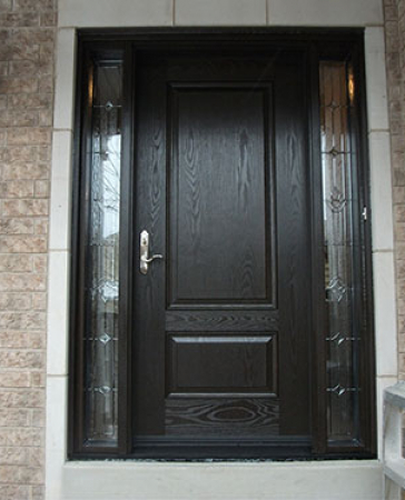 Woodgrain Exterior Doors-Woodgrain doors-Front Entry Doors-Wood grain Single Door with 2 Stained Glass Side Lites Installed by Windows and Doors Toronto
