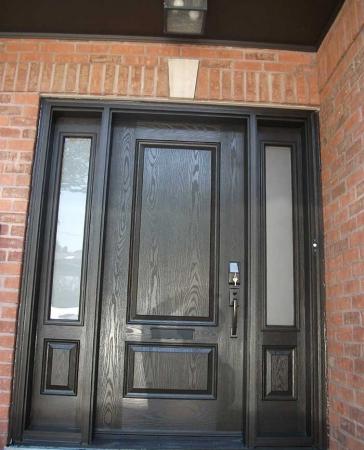 Woodgrain Exterior Doors-Woodgrain doors-Front Entry Doors-Wood grain Single Solid Door Fiberglass With 2 Side Panel Lights Installed by windows and doors toronto in Toronto