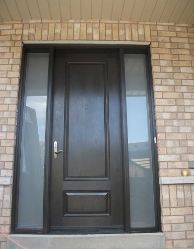 Woodgrain Exterior Doors-Woodgrain Exterior Doors-Woodgrain doors-Wood grain Solid Door with 2 Frosted side lites Installed by Windows and Doors Toronto in Maple