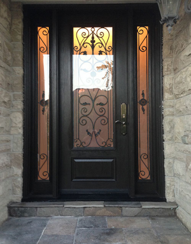 Windows and Doors Toronto-Wrought Iron Woodgrain Doors-Woodgrain Wrought Iron Front Door with 2 Side lites installed in Richmond Hill  by windowsanddoorstoronto
