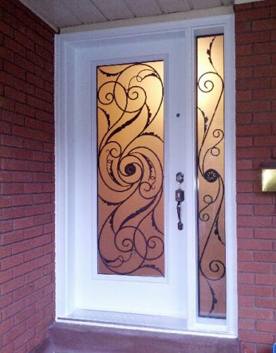 Wrought Iron Doors-Front Entry Doors-Fiberglass Doors-Wrought Iron Exterior Door Milan Design with 2 side Lites