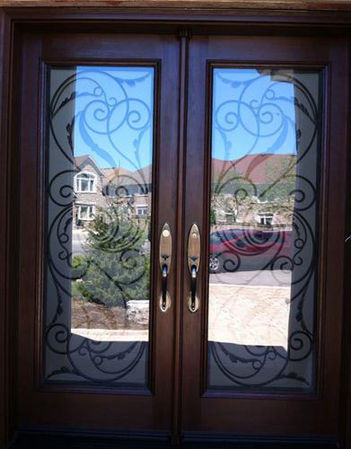 Front Entry Doors-Wrought Iron Doors, Fiberglass Woodgrain Milan Design Double Doors Installed By Windows and Doors Toronto in Thornhill