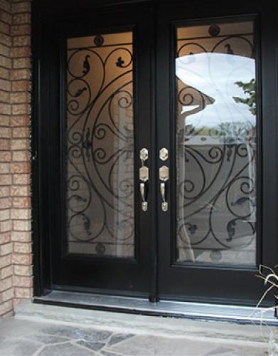 Wrought Iron Doors-Fiberglass Fornt Doors with Julietta Design and Multi Point Locks Installed by Windows and Doors Toronto in Etobicoke