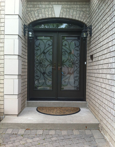 Front Entry Doors-Wrought Iron Doors, Fiberglass Doors-Julieta Design Doorswith Arch Transom and Frosted Glass installed by Windows and Doors Toronto in Thornhill