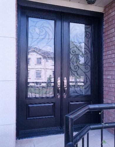 Front Entry Doors-Wrought Iron Doors-Serafina Design Fiberglass Double Doors with Multi Point Locks by Windows and Doors Toronto in Toronto