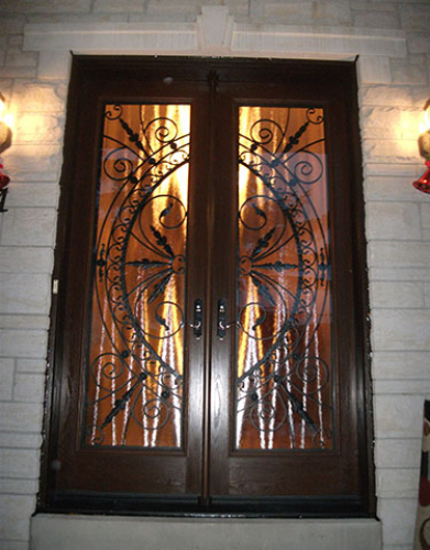 Front Entry Doors-Wrought Iron Double Doors-Fiberglass Doors with Iron Art Design Installed in Thornhill by Windows and Doors Toronto